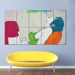 Smoking Woman  Block Giant Wall Art Poster (P-0035)