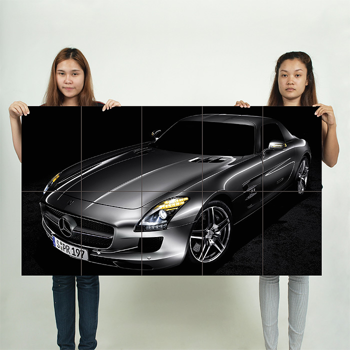 Mercedes benz sls amg block giant wall art poster for Mercedes benz poster