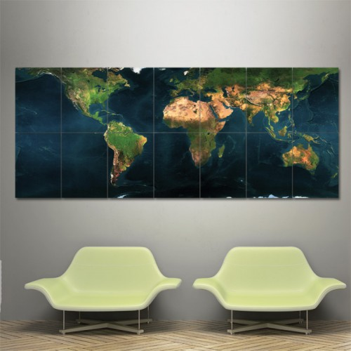 Earth Map Block Giant Wall Art Poster