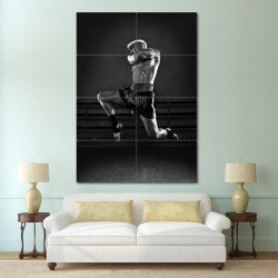 Muay Thai Boxing Flying Knee Block Giant Wall Art Poster (P-0112)