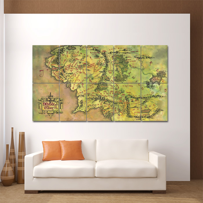 Bon Middle Earth Map Block Giant Wall Art Poster