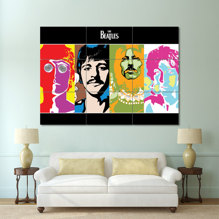 The beatles pop art block giant wall art poster for Pop wall art