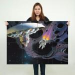 โปสเตอร์ ขนาดใหญ่ Exploring the Asteroids - Robert McCall
