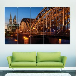 Cathedral and Hohenzollern Bridge Block Giant Wall Art Poster (P-0323)