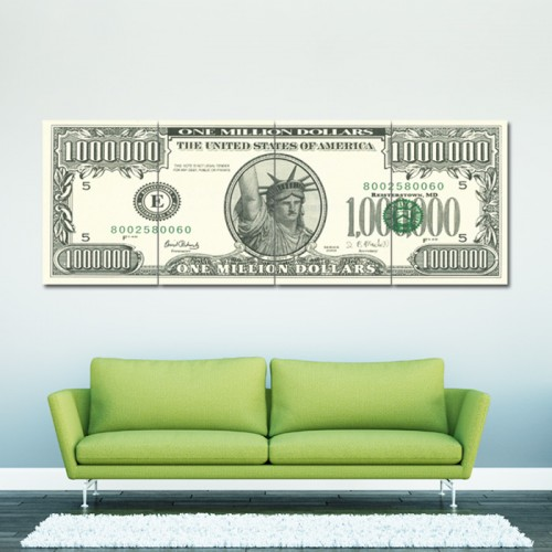 US $ Million Dollar Note  Block Giant Wall Art Poster