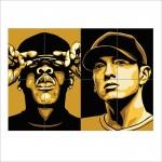 โปสเตอร์ ขนาดใหญ่ ภาพนักร้อง Jay Z and Eminem