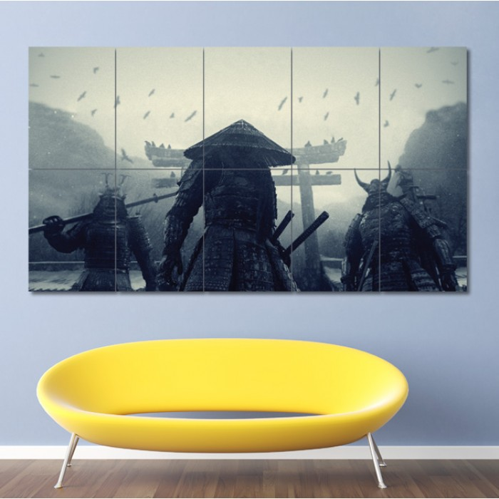 Asian Warriors Samurai Japan Block Giant Wall Art Poster