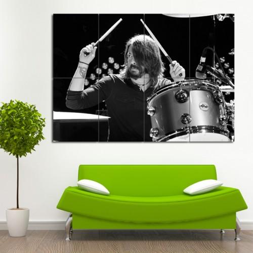 โปสเตอร์ ขนาดใหญ่ นักดนตรี Dave Grohl Drumming เดฟ โกรล