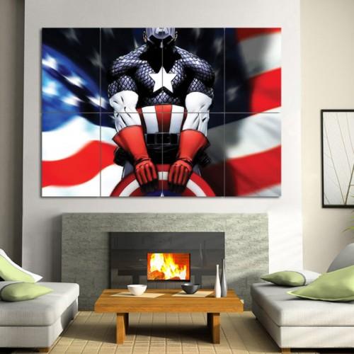 โปสเตอร์ ขนาดใหญ่ การ์ตูน Comics Captain America  กัปตันอเมริกา