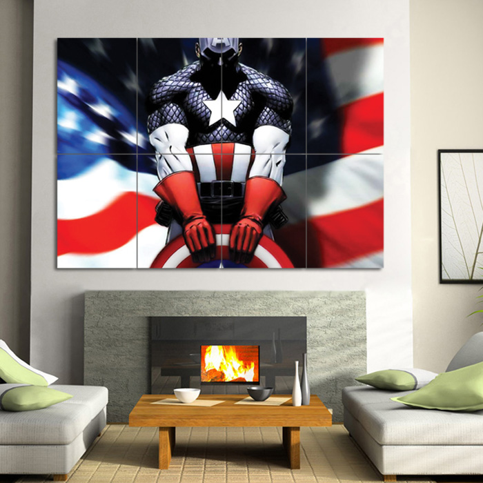 Captain America Wall Art captain america block giant wall art poster