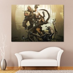 Alien Predator and Human in Battle Block Giant Poster (P-0546)
