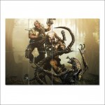 Alien Predator and Human in Battle Block Giant Wall Art Poster