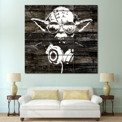 Yoda Wood Graffiti - Star Wars Block Giant Wall Art Poster (P-0550)