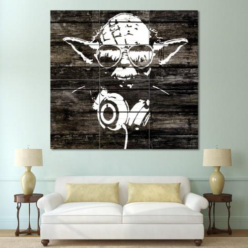 Yoda Wood Graffiti - Star Wars Block Giant Wall Art Poster