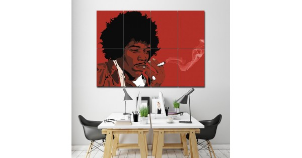 Jimi Hendrix Smoking Block Giant Wall Art Poster