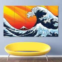 Japanese Style Waves Block Giant Wall Art Poster (P-0570)