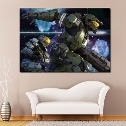 Halo Soldier Weapon Spartans Block Giant Wall Art Poster (P-0596)