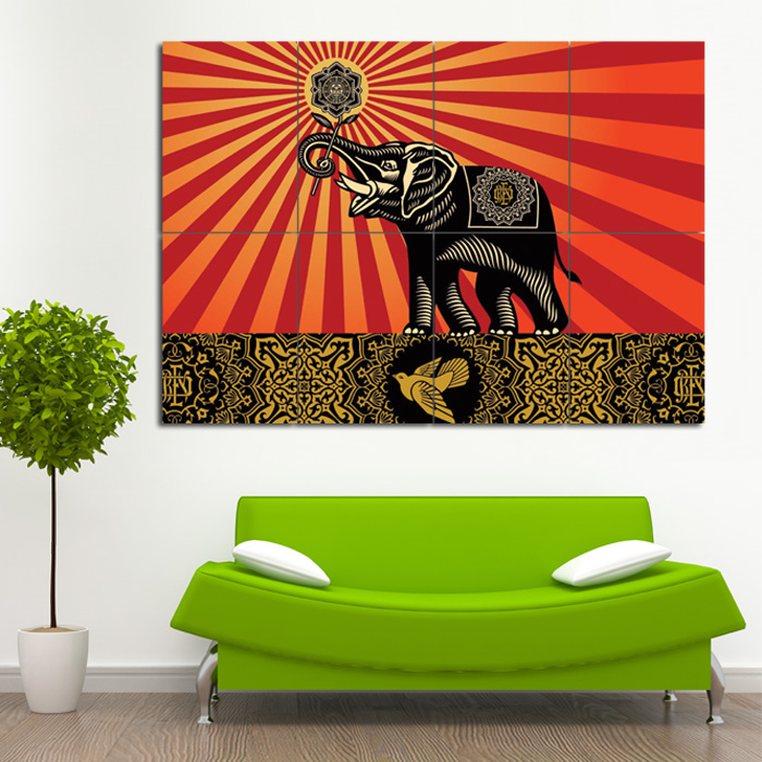Obey Elephants Shepard Fairey Block Giant Wall Art Poster