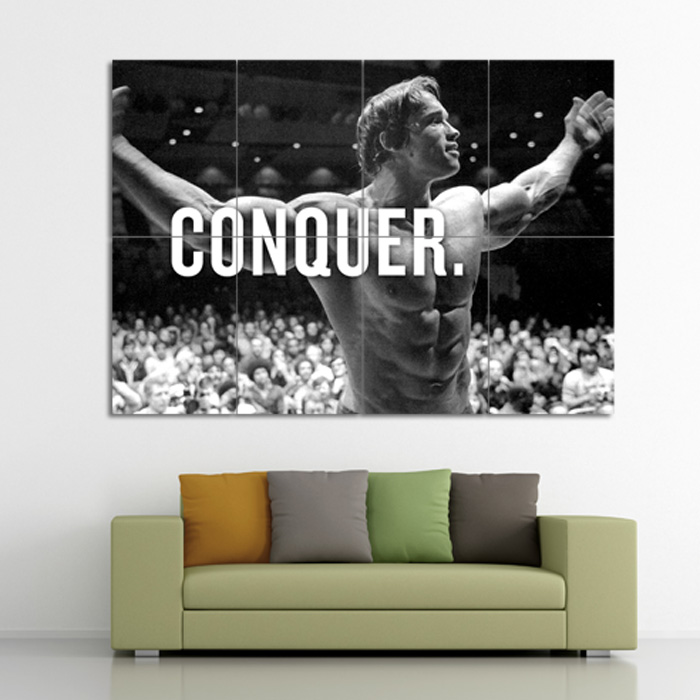 ARNOLD SCHWARZENEGGER POSTER GYM QUOTE CONQUER BODYBUILDING ART WALL LARGE