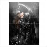 โปสเตอร์ ขนาดใหญ่ ภาพการ์ตูน Batman Kissing Catwoman แบทแมน จูบ แคทวูแมน