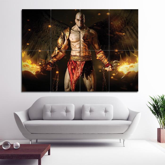god of war adventure kratos block giant wall art poster