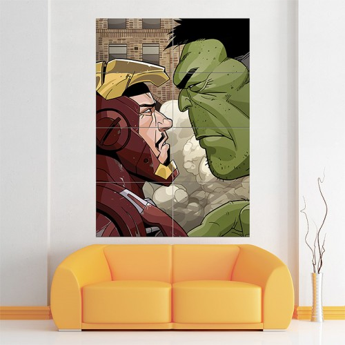 Iron Man and The Hulk Block Giant Wall Art Poster