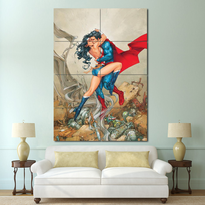 Wonder Woman Wall Art batman kissing wonder woman comic block giant wall art poster