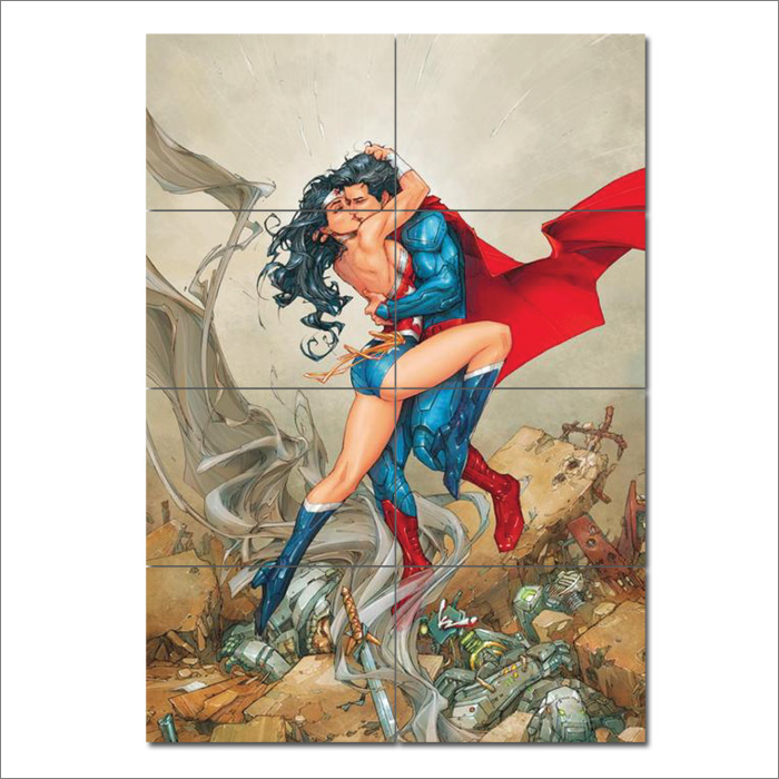 Wonder Woman Wall Art kissing wonder woman block giant wall art poster