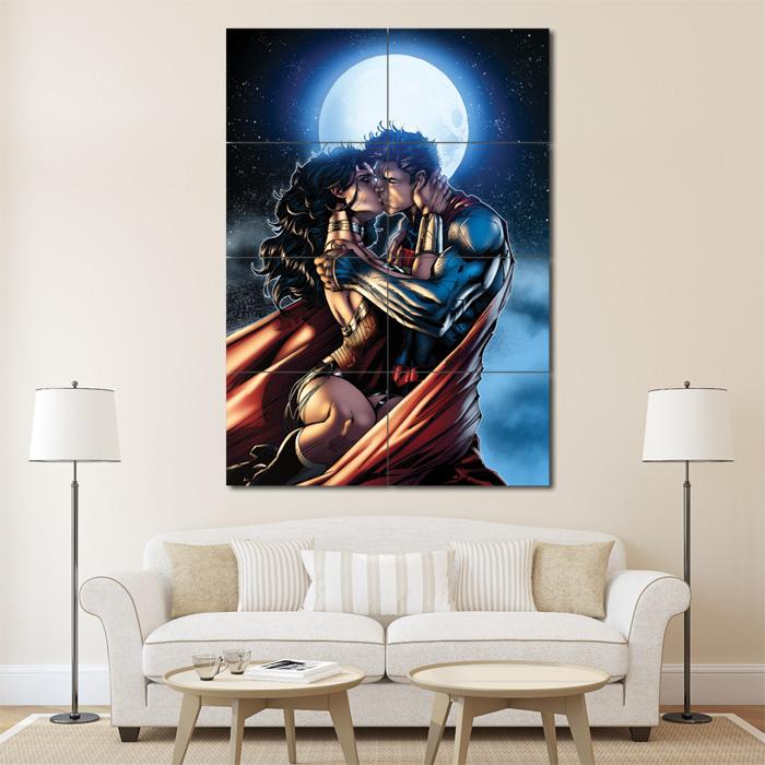 Superman Wonder Woman Moon Kiss Block Giant Poster