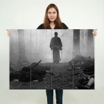 Forest Samurai Grayscale Block Giant Wall Art Poster