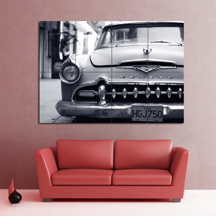 Desoto Havana Cuba Car Block Giant Wall Art Poster