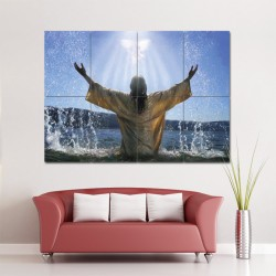 Baptism Jesus Religion God Block Giant Wall Art Poster (P-0989)