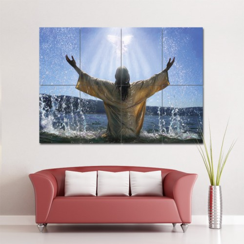 Baptism Jesus Religion God Block Giant Wall Art Poster