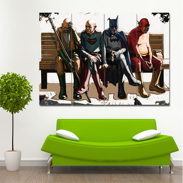Old Superheroes Superman Aquaman Flash Batman Block Giant Wall Art Poster
