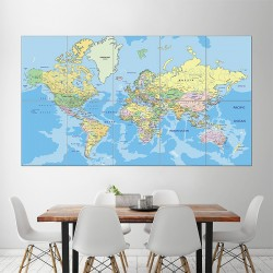 World Map #3 Block Giant Wall Art Poster (P-1051)