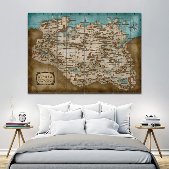 Giant Wall Art elder scrolls skyrim map game block giant wall art poster