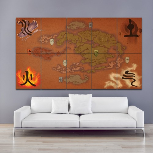 โปสเตอร์ ขนาดใหญ่ แผนที่การ์ตูนอนิเมะ  Avatar The Last Airbender Map