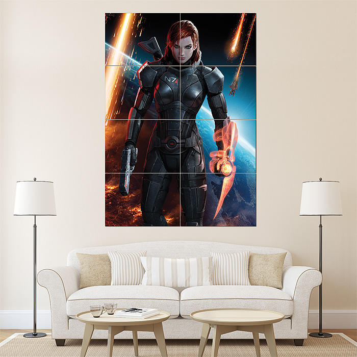 Mass Effect 3 Female Shepard Finale Block Giant Wall Art Poster