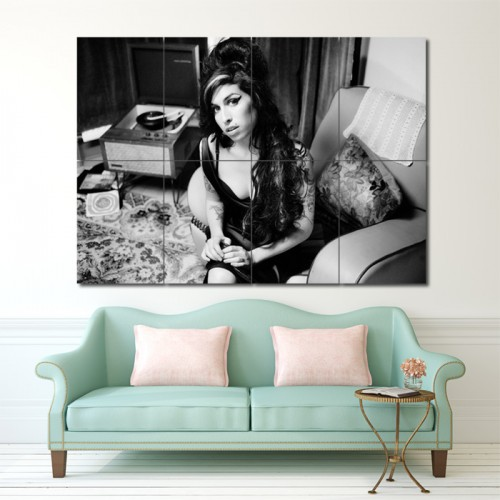 Amy Winehouse Black and White Block Giant Wall Art Poster