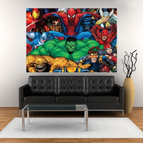 Marvel Heroes Block Giant Wall Art Poster