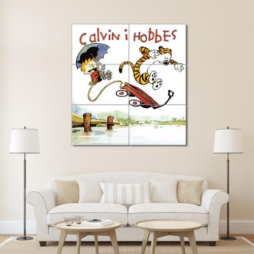 โปสเตอร์ ขนาดใหญ่ การ์ตูน Calvin and Hobbes Jumping