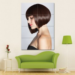 Short Brunette Bob Hairstyle Barber Haircuts Block Giant Wall Art Poster (P-1317)