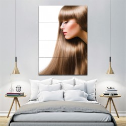brown long hair- women hair Barber Haircuts Block Giant Wall Art Poster (P-1322)