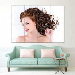 Women Curly Haircut Block Giant Wall Art Poster (P-1323)