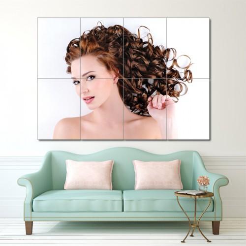 โปสเตอร์ ขนาดใหญ่ ภาพทรงผมผู้หญิง ทรงผมดัดหยิกแบบลอนใหญ่