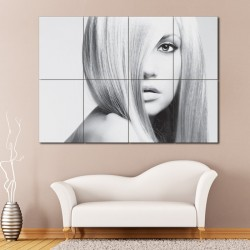 Long Straight Hairstyles Barber Haircuts Block Giant Wall Art Poster (P-1326)