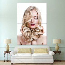 Long Curly Blonde Hairstyle  Barber Haircuts Block Giant Wall Art Poster (P-1328)