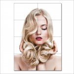 Long Curly Blonde Hairstyle  Barber Haircuts Block Giant Poster