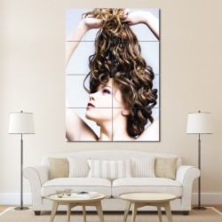 Long Brown Curly Hair Styles Barber Haircuts Block Giant Wall Art Poster (P-1330)