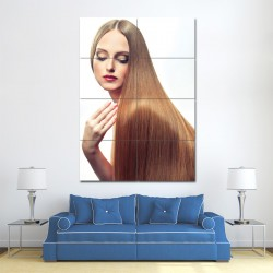 Long Straight Gold Brown Hairstyles Barber Haircuts Block Giant Poster (P-1333)